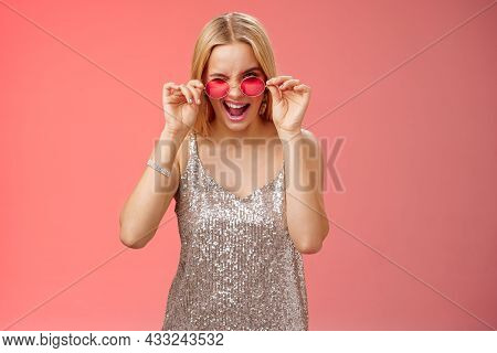 Sassy Carefree Daring Young Blond Girl Winking Cheeky Smiling Assertive Making First Move Approach H