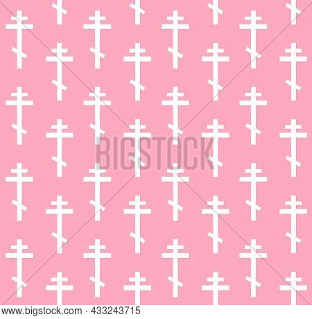Vector Seamless Pattern Of White Christian Orthodox Cross Isolated On Pink Background