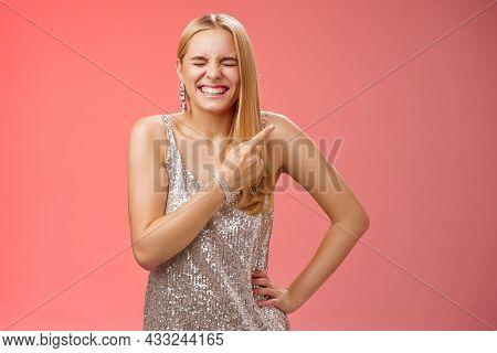 Carefree Joyful Blond Attractive Woman Having Fun Joking Laugh Hilarious Boyfriend Outfit Close Eyes
