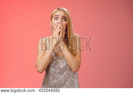Shocked Afraid Insecure Terrified Unconfident Concerned Young Blond Woman In Silver Stylish Dress Ga