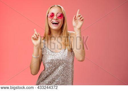 Amused Attractive Happy Smiling Woman Dancing Nightclub Having Fun Enjoying Go Wild Party Celebratin