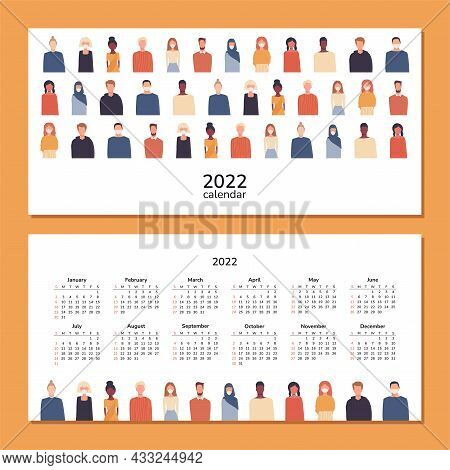 Horizontal Calendar 2022. People. Happy New Year. Wall Desk Table Calendar. People Of Different Nati