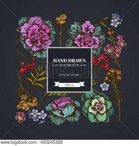 Square Floral Design On Dark Background With Wax Flower, Forget Me Not Flower, Tansy, Ardisia, Brass