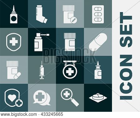 Set Medicine Pill Or Tablet, Bottle Nasal Spray, Bottle And Pills, Medical With Nozzle, Shield Cross