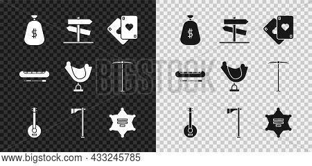Set Money Bag, Road Traffic Signpost, Playing Cards, Banjo, Tomahawk Axe, Hexagram Sheriff, Kayak Or