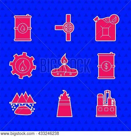 Set Alcohol Or Spirit Burner, Oil Rig With Fire, Industrial Factory Building, Barrel Oil Dollar, Oil