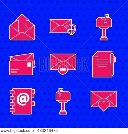 Set Delete Envelope, Mail Box, Envelope With Valentine Heart, Document And Pen, Address Book, And Ou