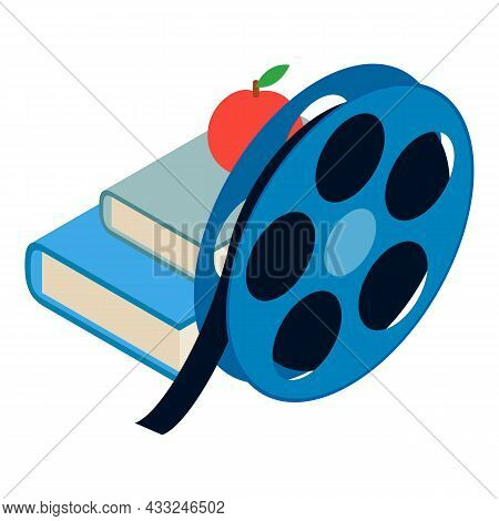 Cinematography Concept Icon Isometric Vector. Film Spool, Two Book And Red Apple. Art Of Cinema, Mov