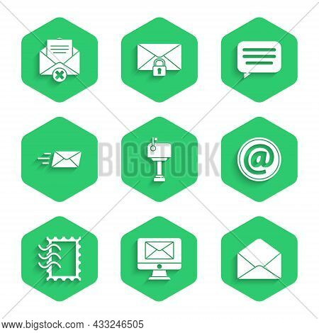 Set Mail Box, Monitor And Envelope, Envelope, E-mail, Postal Stamp, Express, Speech Bubble Chat And