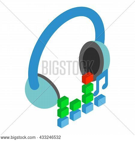 Melomane Device Icon Isometric Vector. Wireless Headphone And Digital Equalizer. Hearing Melody, Chi