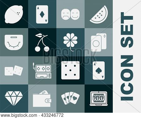 Set Laptop And Slot Machine, Playing Card With Spades, Deck Of Playing Cards, Poker Player, Casino C