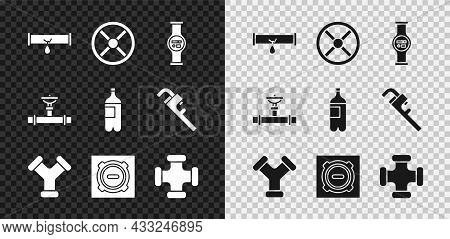Set Broken Pipe With Leaking Water, Industry Valve, Water Meter, Metallic, Manhole Sewer Cover, And