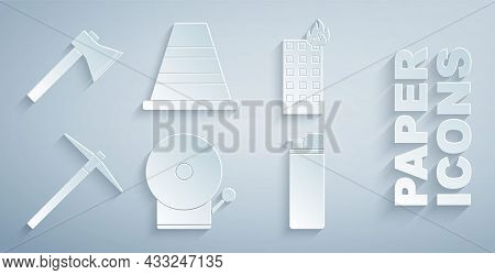 Set Ringing Alarm Bell, Fire Burning Building, Pickaxe, Lighter, Traffic Cone And Firefighter Icon.