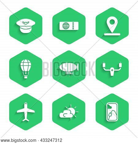 Set Airship, Sun And Cloud Weather, Airplane Window, Aircraft Steering Helm, Plane, Hot Air Balloon,