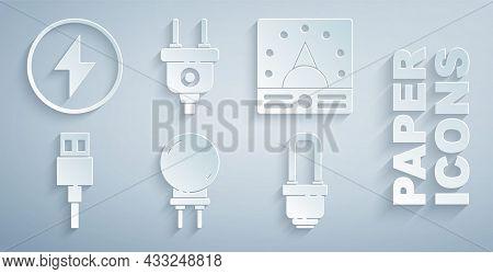 Set Light Emitting Diode, Ampere Meter, Multimeter, Voltmeter, Usb Cable Cord, Led Light Bulb, Elect
