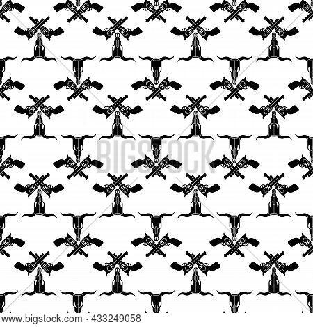Cow Skull Cross Revolver Pattern Seamless Background Texture Repeat Wallpaper Geometric Vector