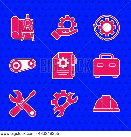 Set Document Settings And Pen, Wrench Spanner Gear, Worker Safety Helmet, Toolbox, Screwdriver Wrenc