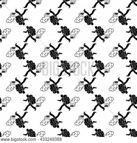 Running Migrant Man Pattern Seamless Background Texture Repeat Wallpaper Geometric Vector