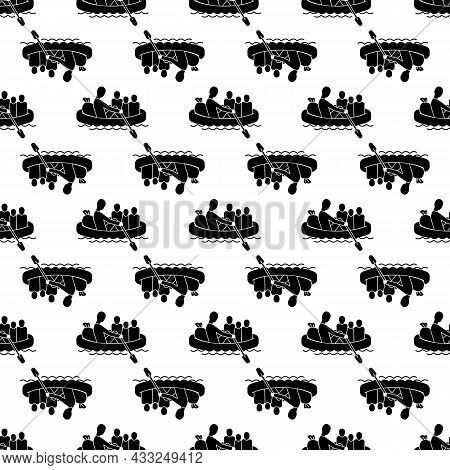 Migrant Family In Boat Pattern Seamless Background Texture Repeat Wallpaper Geometric Vector