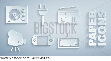 Set Portable Video Game Console, Radio With Antenna, Retro Cinema Camera, Keyboard, Electric Plug An