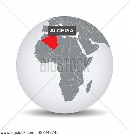 World Globe Map With The Identication Of Algeria. Map Of Algeria. Algeria On Grey Political 3d Globe