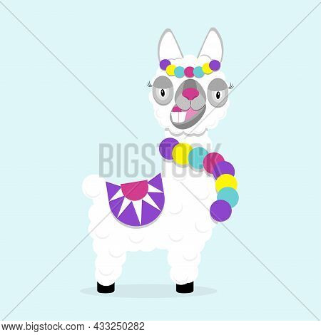 Funny Lama Alpaca On Blue Background. Flat Image Of Cute And Funny Animal.