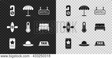 Set Please Do Not Disturb, Sun Protective Umbrella For Beach, Signboard With Text Hotel, Mobile Revi