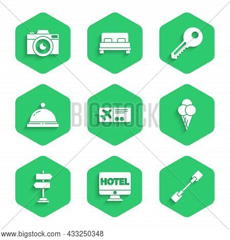 Set Airline Ticket, Online Hotel Booking, Paddle, Ice Cream Waffle Cone, Road Traffic Sign, Hotel Se
