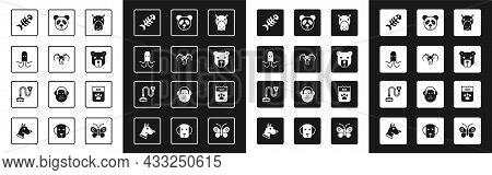 Set Hippo Or Hippopotamus, Head Of Goat Ram, Octopus, Fish Skeleton, Bear Head, Cute Panda Face, Bag