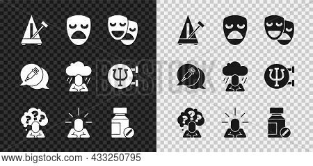 Set Metronome With Pendulum, Drama Theatrical Mask, Comedy And Tragedy Masks, Head Question Mark, De