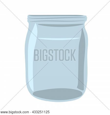 Hand-drawn  Glass Jar. Empty Clear Glass Container Isolated On White Background.  Vector Illustratio
