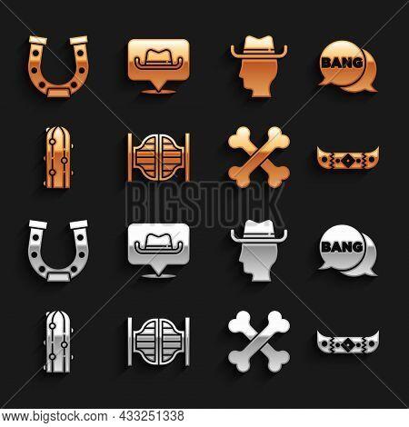 Set Saloon Door, Bang Boom, Gun Comic, Kayak Canoe And Paddle, Crossed Human Bones, Cactus, Cowboy,