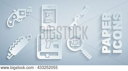 Set Book With Pistol Or Gun, Hunting, Trap Hunting, Pistol Search, Shop Weapon Mobile App And Small