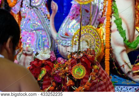 Howrah, West Bengal, India - 25th October 2020 : Goddess Durga Is Being Worshipped. Representative I