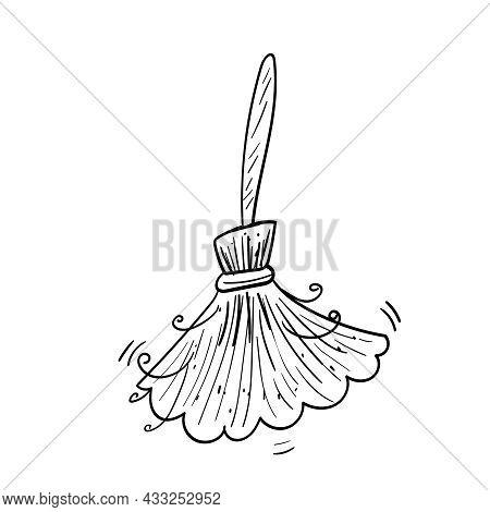 Halloween Broom Witch Illustration, Old Broom Coloring Vector Illustration