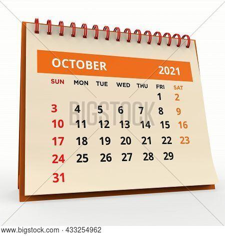 Standing Desk Calendar October 2021 Orange. Business Monthly Calendar With Red Spiral-bound, The Wee