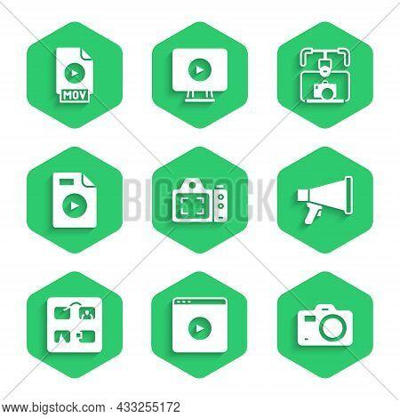 Set Photo Camera, Online Play Video, Megaphone, Storyboard, Avi File Document, Gimbal Stabilizer Wit