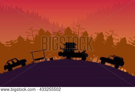 Silhouette Off Road Vehicle Camping With Forest Mountain Landscape On Orange Gradient Background