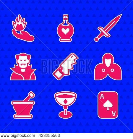 Set Hand Saw, Medieval Goblet, Playing Cards, Mantle, Cloak, Cape, Mortar Pestle, Vampire, Dagger An