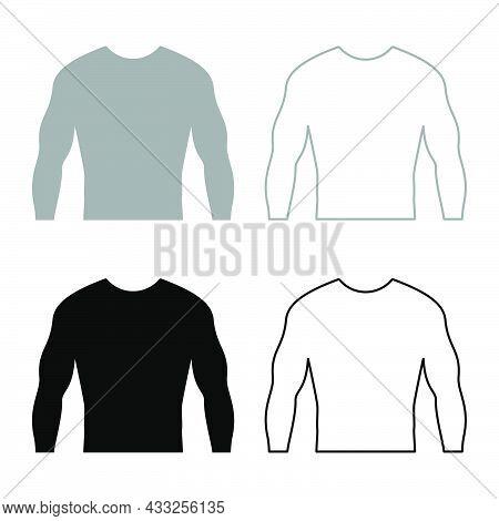 Rashguard Long Sleeves Top Set Icon Grey Black Color Vector Illustration Flat Style Simple Image