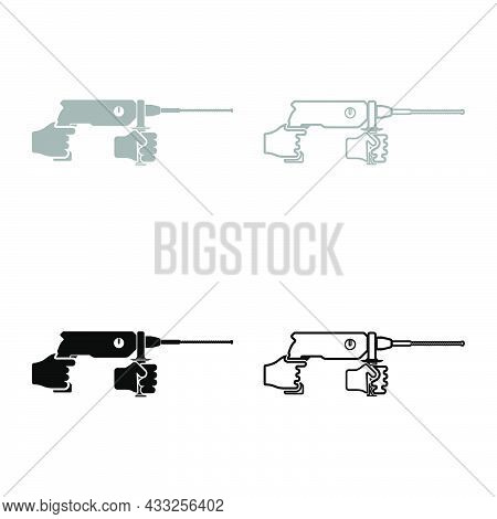 Electric Rotary Hammer Drill In Hand Holding Tool Use Arm Using Power Tool Set Icon Grey Black Color