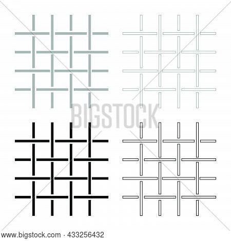 Fabric Fibers Grid Cloth Textile Set Icon Grey Black Color Vector Illustration Flat Style Simple Ima