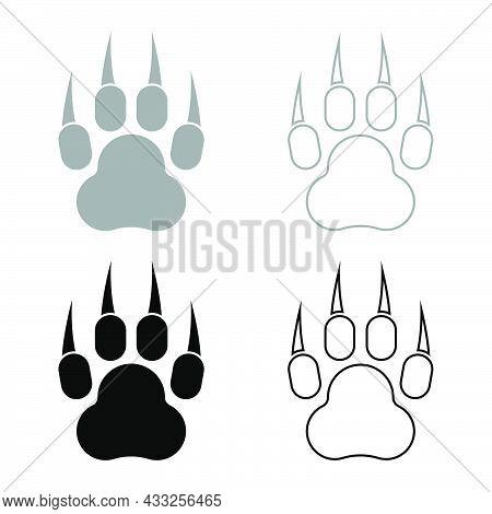 Print Paw Wild Animal With Claw Track Footprint Predatory Pawprint Set Icon Grey Black Color Vector