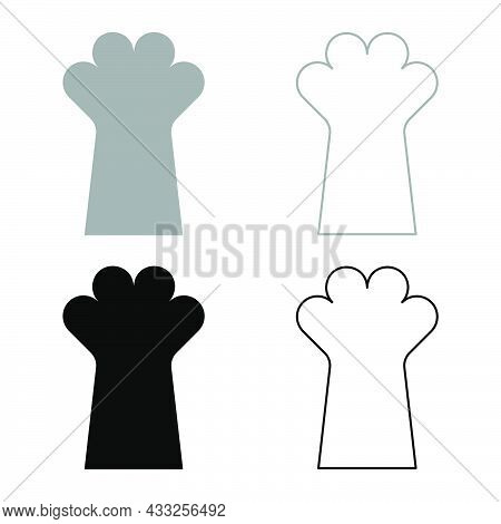 Cat Paw Foot Cat's Leg Cute Domestic Animal Set Icon Grey Black Color Vector Illustration Flat Style