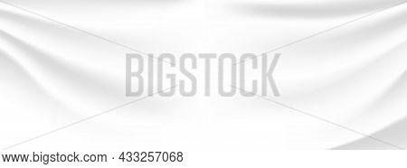 Silk Soft Texture. White Satin Background. Milky Fabric Template. Vector Illustration