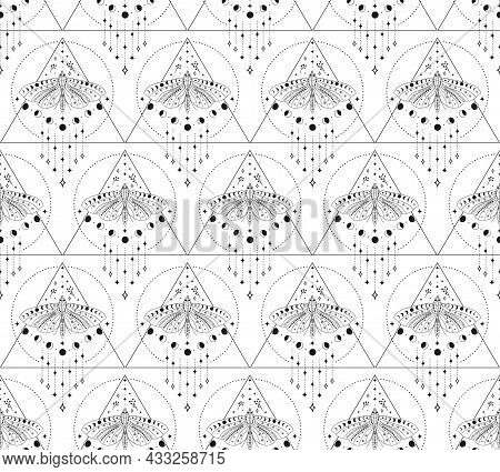 Abstract Background Seamless Pattern Moon And Moth