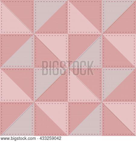 Soft Pink Patchwork For Girls With Stitching Threads, Children's Design