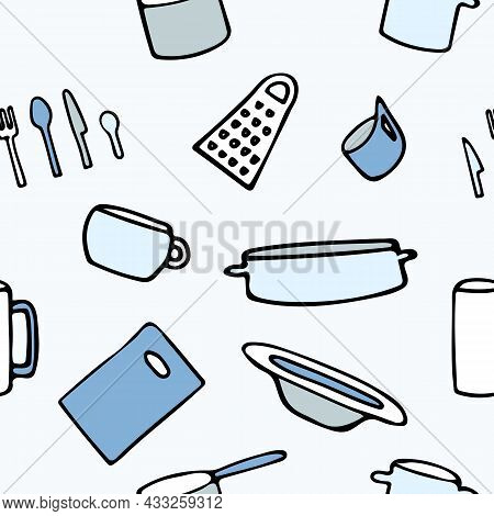 Pattern With Kitchen Utensils On A Blue Background. Cutting Board, Plate, Food Cutlery, Mug, Fork, K