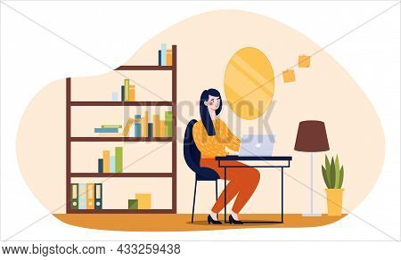 Girl With Laptop. Work From Home, Freelance Schedule. Managing Your Time, Making Money. Provision Of