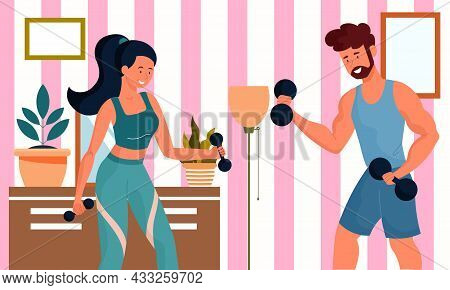 Man And Woman Work Out At Home. Exercises With Dumbbells, Training Biceps And Triceps. Classes In Yo